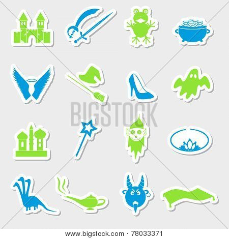 Color Simple Fairy Tales Theme Stickers Set Eps10