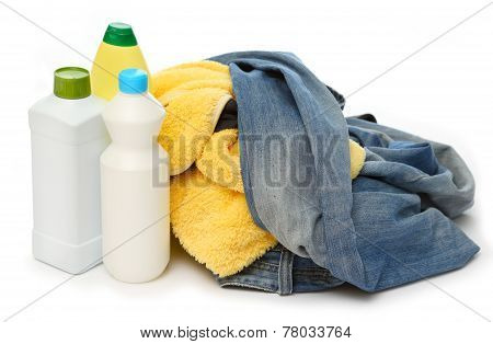 Heap Of Washing And Detergent