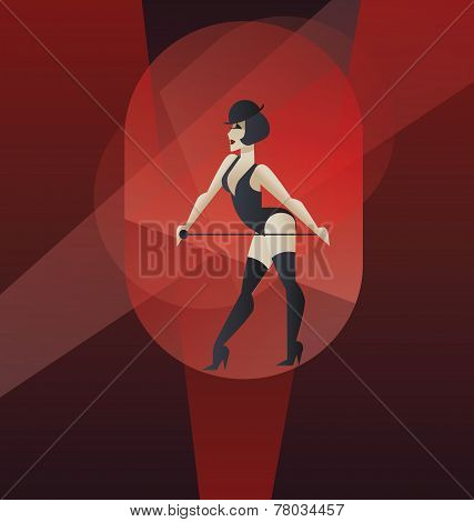 Art Deco poster design cabaret burlesque dancer