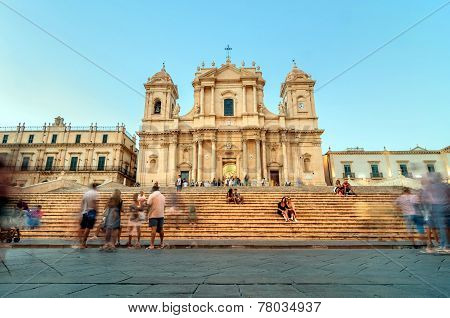 Baroque Cathedral At Sunset In Noto, Sicily