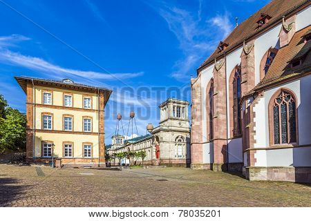 Stiftskirche Church Baden-baden Germany And View To Historic Museum With Original Roman Spa