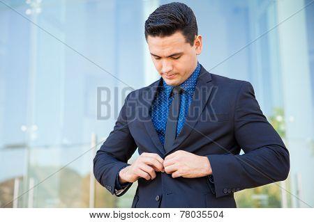 Buttoning A Suit