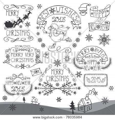 Vintage Christmas,New Year Calligraphic badges set.Outline