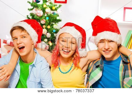Christmas party with happy teens