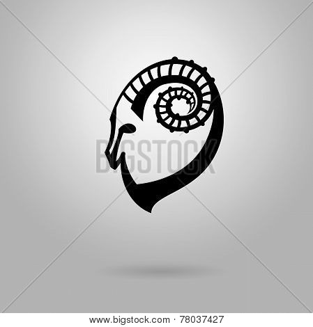 Stylized black silhouette of goat's head. Ibex sign on white background. Vector illustration.