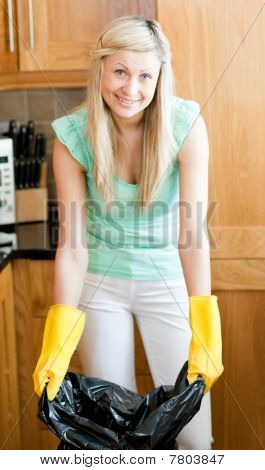 Smiling Housewife Cleaning