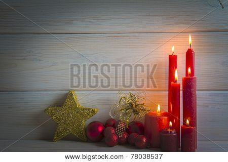 Christmas Background With Candles And A Space For Text