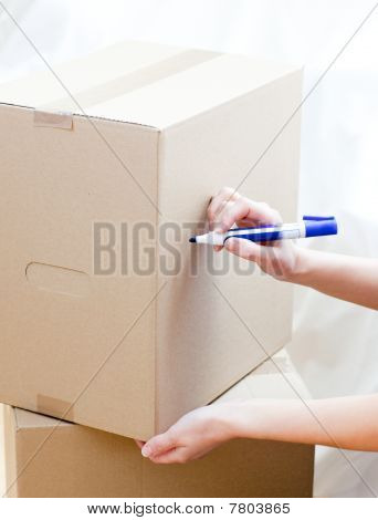 Cute Woman Writing On A Box At Home