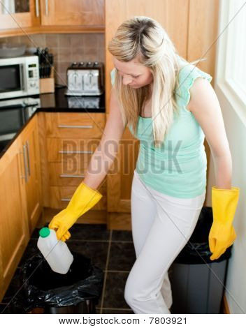 Confident Housewife Cleaning