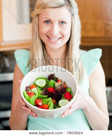 Caucasian Woman Showing A Salad