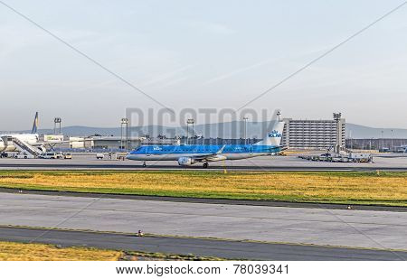 Klm Aircraft Heads To The Runway