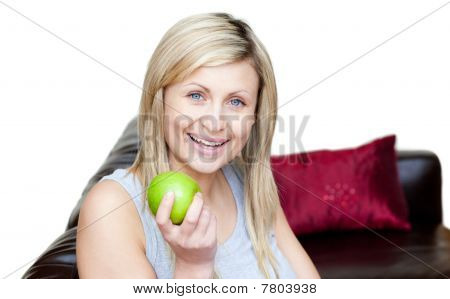 Radiant Woman Eating An Apple
