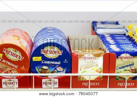 Perm, Russia - Aug 18, 2014: Diffrent Varieties Of President Cheese In Russian Shop. Aug 6, 2014 Rus