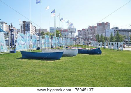 Flowerbeds In The Shape Of Boats At Entrance To Festival Town At Festiv