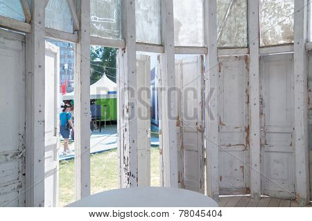 Perm, Russia - Jun 11, 2013: Inside Structure Of Old Doors And Window Frames At Inetranational Festi