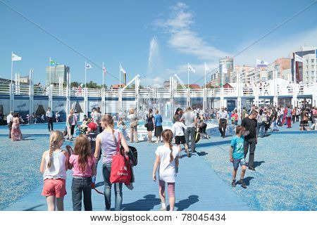 Perm, Russia - Jun 11, 2013: Adults And Children Walking Around Festival Town White Nights