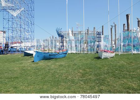 Perm, Russia - Jun 11, 2013: Stylized Flowerbed In Form Of Boats At Festival White Nights In Perm