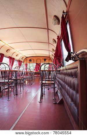 Perm, Russia - Jun 11, 2013: Tables Of Bus Cafe Kentucky Fried Chicken. First Restaurant Kfc Was Ope
