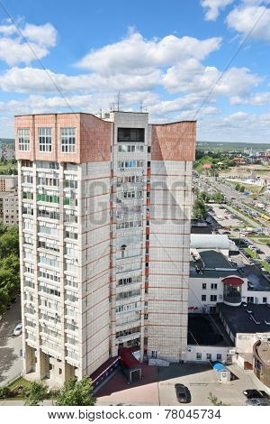 Perm, Russia - Jun 25 2014: Residential Building At Popova Street. Russia In Terms Of Wages Takes Pl
