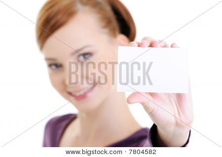 Young Happy Woman With Blank White Card