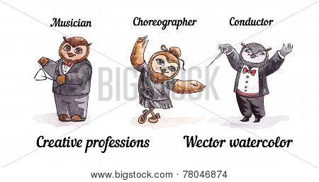 Owls creative professions. Vector watercolor. Birds artists.