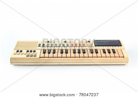 Old Vintage Synthesizer Isolated On White