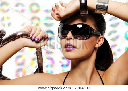Portrait Of Beautiful Girl With Glamour Sunglasses
