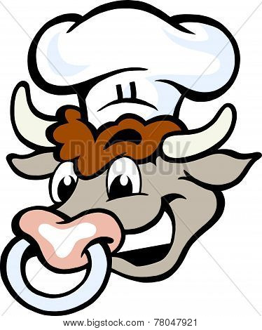 Hand-drawn Vector Illustration Of An Happy Bull Chef Head