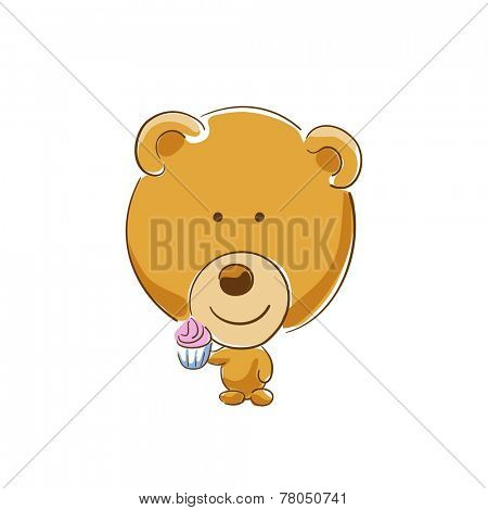 brown bear with cupcake in hand