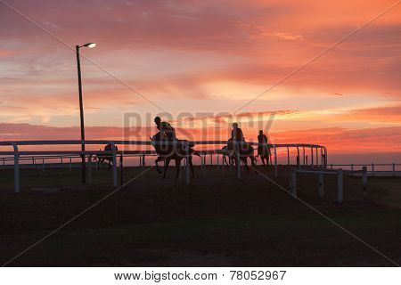 Horses Riders Silhouetted Color Landscape