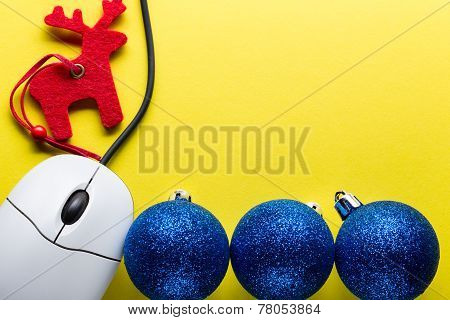 New Year Tree Decoration With Computer Mouse