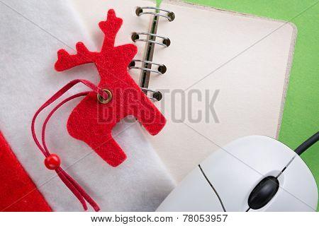 Santa Sock With Blank Notebook And Reindeer