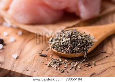 Herbs De Provence. Mixed Dried Herbs In Spoon