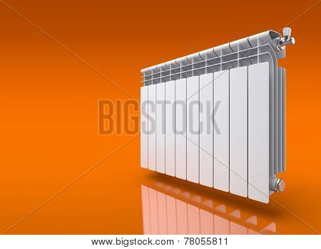 Radiator on orange reflective background