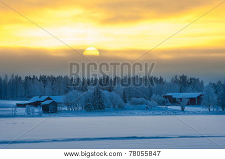Polar Winter Dusk Landscape
