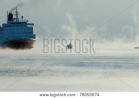 Icebreaking Ferry Arriving At Helsinki Port