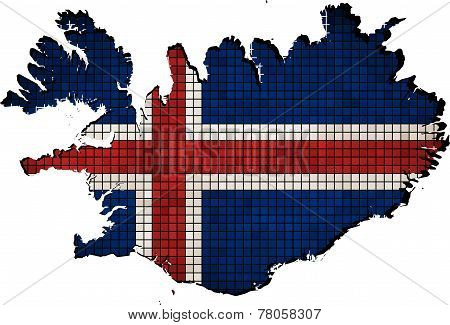 Iceland map with flag inside