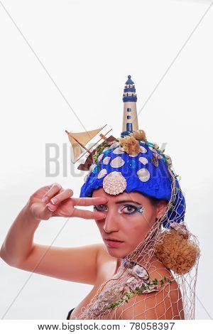 Woman wearing a nautical themed headdress