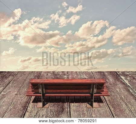 Wooden Seat And Sky