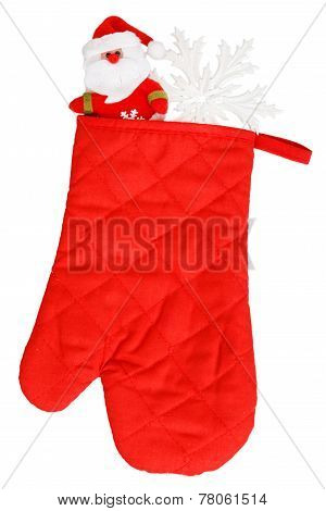 Santa Claus And White Snowflake In Red Heat Protective Mitten