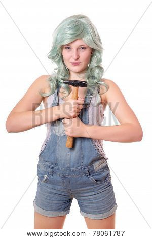 young woman with hammer