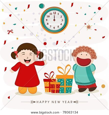 Cute little girls pointing to the clock and showing time for Happy New Year party celebration with gifts on stylish background.