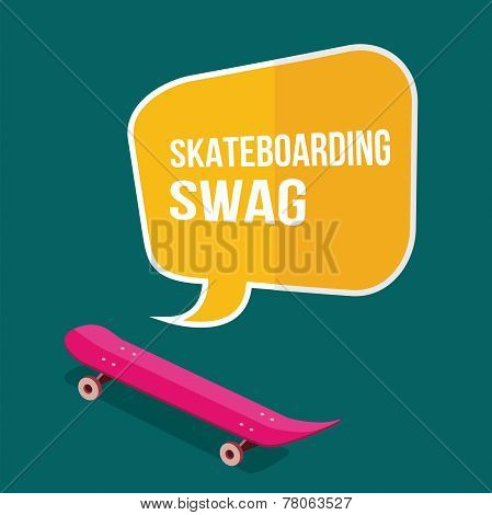 Skateboard With Thought Bubbles On Green Background