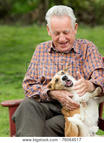 Old Man Playing With Dog