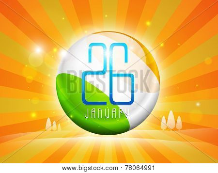 Glossy ball painted in national flag colors with text 26 January on shiny rays background for Indian Republic Day celebrations.