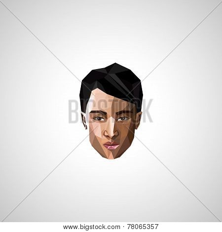 illustration with an asian guy face in polygonal style