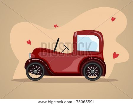 Illustration of a retro jeep with hearts on stylish background.