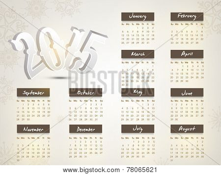 Floral design decorated annual calendar of 2015 for Happy New Year celebrations.