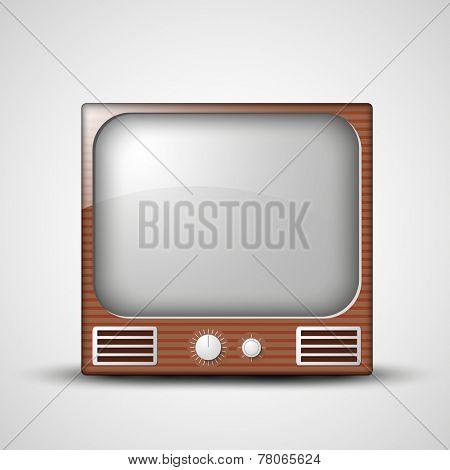 Retro television set isolated on shiny grey background.