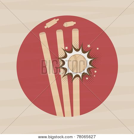 Sticker or label with ball hitting by wicket stump for cricket sports concept stylish background.